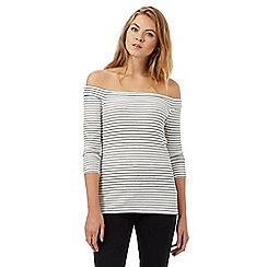 Red Herring - Ivory Bardot striped top