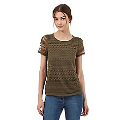 Red Herring - Khaki lace front top