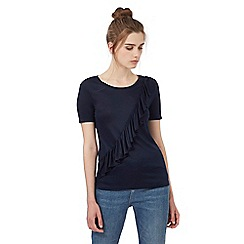 Red Herring - Navy asymmetric ruffle t-shirt