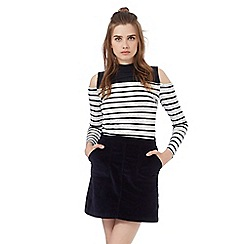 Red Herring - Navy and white striped print cold shoulder top