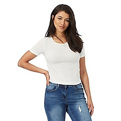 Red Herring - White ribbed cropped top