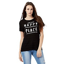 Red Herring - Black 'this is my happy place' print top