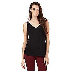 Red Herring - Black cotton V neck vest top