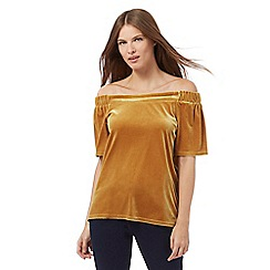 Red Herring - Gold velvet Bardot top