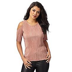 Red Herring - Pink plisse cold shoulder top