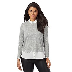Red Herring - Grey salt and pepper mock top