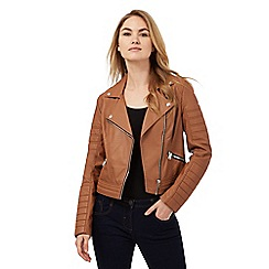 Red Herring - Tan asymmetric biker jacket
