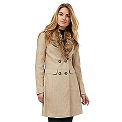 Red Herring - Beige twill faux fur collar coat