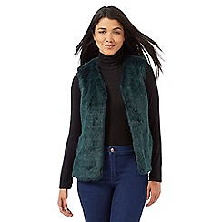 Red Herring - Dark green faux fur gilet