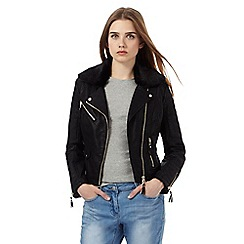 Red Herring - Black biker jacket with faux fur collar