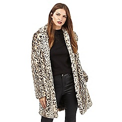 Red Herring - Beige leopard print faux fur coat