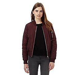 Red Herring - Dark red zip pocketed bomber jacket