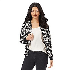 Red Herring - Black floral print bomber jacket