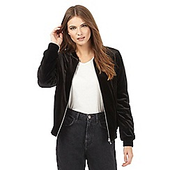 Red Herring - Black velvet bomber jacket