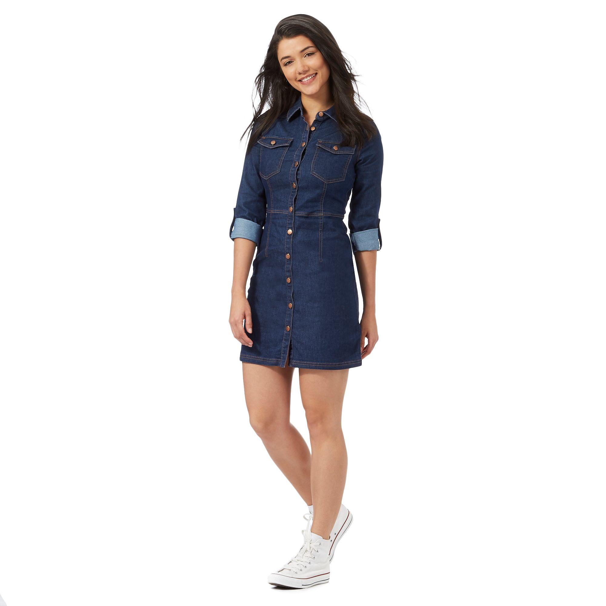 red herring petite womens blue denim shirt dress from