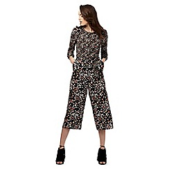 Red Herring Petite - Navy floral print wide leg jumpsuit