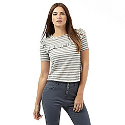Red Herring Petite - Grey and white striped print frilled trim top