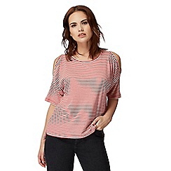 Red Herring - Red striped cold shoulder top