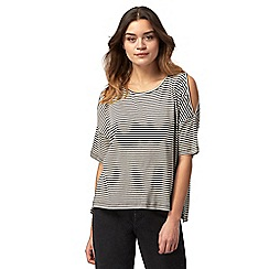 Red Herring - Black striped cold shoulder top