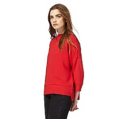 Red Herring - Red funnel neck textured jumper