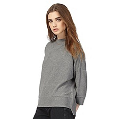 Red Herring - Grey funnel neck textured jumper