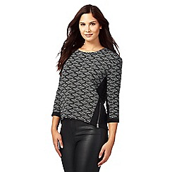 Red Herring - Black textured zig zag print zip detail sweater