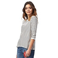 Red Herring - Navy and white striped print top