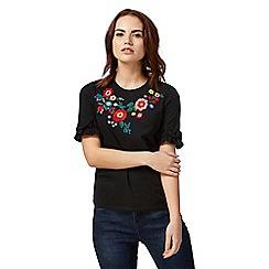 Red Herring - Black floral frill t-shirt