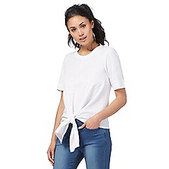 Red Herring - White textured front self-tie hem top