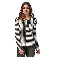 Red Herring - Black striped zip detail jumper