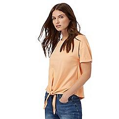 Red Herring - Light orange self-tie hem top