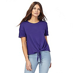 Red Herring - Purple self-tie hem top