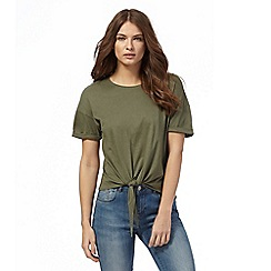 Red Herring - Khaki self-tie hem top