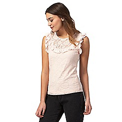 Red Herring - Light pink lace yoke ruffled top
