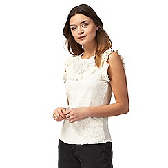 Red Herring - Ivory lace yoke ruffled top