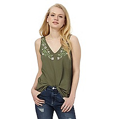 Red Herring - Khaki floral embroidered vest top