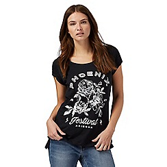 Red Herring - Black slogan print boyfriend t-shirt