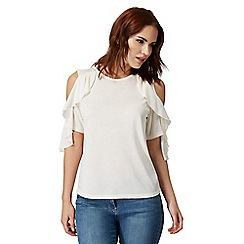 Red Herring - Ivory cold shoulder waterfall sleeve detail top
