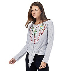 Red Herring - Blue stripe embroidered top