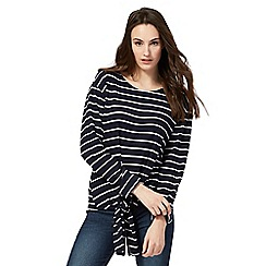Red Herring - Navy striped self-tie hem top