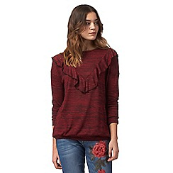 Red Herring - Dark red ruffled top