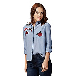Red Herring - Blue stripe punk badge button down shirt