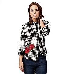 Red Herring - Black check print rose embroidered button down shirt