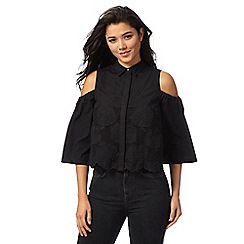 Red Herring - Black flower embroidered cold shoulder shirt