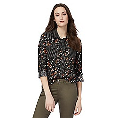 Red Herring - Black floral and polka dot print shirt