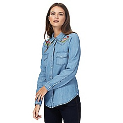Red Herring - Blue denim embroidered button down shirt
