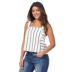Red Herring - Grey striped linen blend top