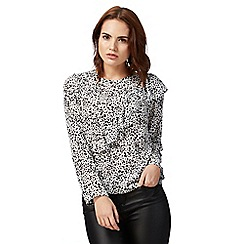 Red Herring - White asymmetric leopard print blouse