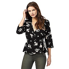 Red Herring - Black floral print wrap top