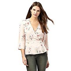 Red Herring - Light pink floral print wrap top